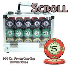 Brybelly PCS-3104A 600 Ct Standard Breakout Scroll Chip Set - Acrylic Case