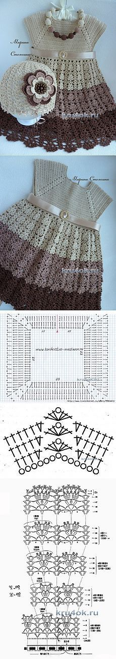 Hat and summer dress for girls - work Marina Stoyakin - Crochet in . - Ildi Nagyné - - Hat and summer dress for girls - work Marina Stoyakin - Crochet in . Baby Clothes Patterns, Crochet Baby Clothes, Baby Patterns, Clothing Patterns, Knitting Patterns, Crochet Patterns, Crochet Dresses, Crochet Girls, Crochet For Kids