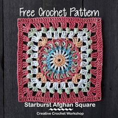 Starburst Afghan Square | Creative Crochet Workshop @creativecrochetworkshop #freecrochetpattern #grannysquare #afghansquare #crochetalong #ccwcrochetablock2018