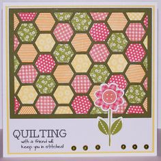 Quilting...grreen frame with die cut hexagons in lovely summer colors...
