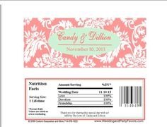 Damask Wedding Candy Bar Wrapper coral and mint 644 Candy Bar Wedding, Damask Wedding, Candy Bar Wrappers, Wedding Invitations, Invites, Wedding Planning, Wedding Ideas, Special Day, Vows