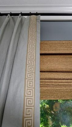Custom window treatment with Greek key trim and woven wood shades, Designer: Carla Aston Drapery Panels, Curtains With Blinds, Valances, Woven Blinds, Bedroom Curtains, White Curtains, Hang Curtains, Burlap Curtains, Living Room Paint