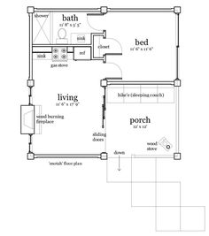 Modern Style House Plan - 1 Beds 1 Baths 456 Sq/Ft Plan #64-210 Floor Plan - Main Floor Plan - Houseplans.com