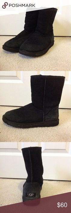 UGG Boots - black, short Black short boot, women's size 8. Great condition inside the boot with some visible wear on the outside UGG Shoes Winter & Rain Boots