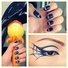 Loving the nails! I think I may use glow in the dark paint for the whites of the eyes. Halloween Parties, Nails Art, Halloween Eye, Eye Makeup, Nails Design, Halloween Makeup, Makeup Looks, Spiders Web, Halloween Nails