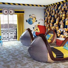 minion room decor with wall sticker and bedding. wonderful best 25 minion bedroom ideas on minion room Minion Nursery, Minion Room Decor, Minion Bedroom, Futons, Bedroom Themes, Kids Bedroom, Bedroom Ideas, Kids Rooms, Bedroom Designs