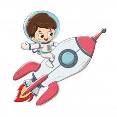 Boy sitting on a rocket flying through space - Vector - Dibustock, Ilustraciones infantiles de Stock