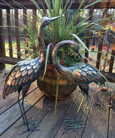 Details about Copper Patina Crane Pair Metal Garden Decor Statues Bird Yard Sculptures Heron - Modern Metal Garden Art, Metal Art, Cosy Garden, Yard Sculptures, Metal Garden Sculptures, Metal Birds, Welding Art, Garden Ornaments, Lawn Ornaments