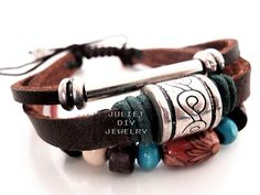 Great looking multi strand leather bracelet. Fits wrists 5.5 to 8 inches and looks great on men, women, teens, boys and girls. Simply slide the cords open and pull to close (the center knot holds the cords tight). Cord ends each have a silver bead.     Combine shipping service and shipping discou...