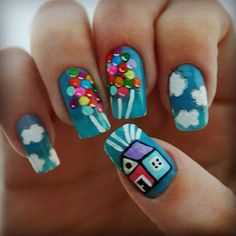 Design idea from a Disney movie (up). If I liked having long nails I would totally do this