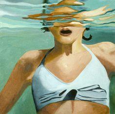 Girl in Water by Kara Hamer Reine Art, Pool House Decor, Underwater Painting, Girl In Water, Queen Art, Painting Of Girl, Art For Art Sake, Pictures To Paint, Figurative Art