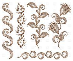 Collection of floral ornamental design elements, 29097, Design ...