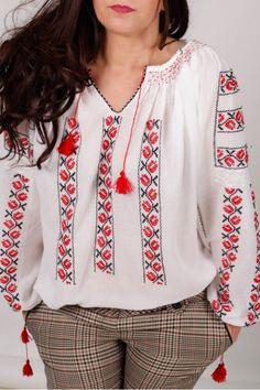 Ie romaneasca Frunza de Artar Bridal Dresses, Cross Stitch, Ruffle Blouse, Embroidery, Chic, Costume, Long Sleeve, Sleeves, Handmade