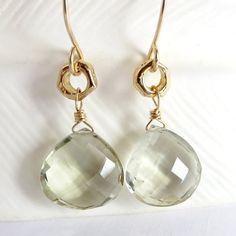 Green amethyst earrings prasiolite earrings by KahiliCreations, $65.00