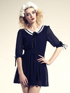 lovely sailor style dress, sweet sheer sleeves
