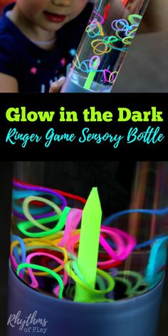 This easy to make DIY glow in the dark ringer game sensory bottle is a fun way to help children (and adults) calm down and unwind while they play. Discovery bottles like this ringer game for kids and adults can help children learn to focus and develop self-regulation skills. Sensory bottles can also be used for safe no mess sensory play. Babies, toddlers, and preschoolers can play this game without the risk of choking on the glow in the dark rainbow loom bands.