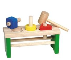 Guidecraft Shape Sorting Pounder Wooden Puzzle Shape Sorting. Children Learn to Sort Geometric Shapes and Develop Fine Motor Skills. Shapes Have Tough Vinyl Rings Inside Holes to Hold Down Dowels Snugly. Material: Hardwood. Base Dimensions: 4in H x 5.75in W x 11in L / Weighs: 1.5 lbs..  #GuideCraft #Toy