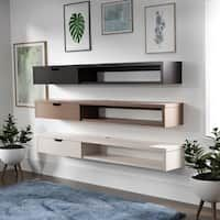 Shop for Carson Carrington Rydstorp Floating Wall-mounted Media Console. Ships To Canada On EVERYTHING* Overstock - Your Online Furniture Outlet Store! Wall Mount Tv Shelf, Tv Wall Shelves, Wall Mount Tv Stand, Shelves Around Tv, Cable Box Wall Mount, Wall Tv, Floating Media Console, Wall Mounted Media Console, Floating Shelf Under Tv