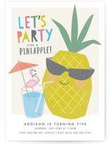 Party like a pineapple Petite Children's Birthday Party Invitations Flamingo Party, Flamingo Pool, Mint Party, Watermelon Birthday Parties, Sunshine Birthday, Birthday Invitations Kids, Pineapple, Sea Foam, Blue Hawaiian