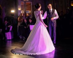 Nicole wearing 'Hyacinth' pictured during their first dance | Loves young dream | Amanda Wyatt | Bridal | Wedding dress | Ball gown | Lace