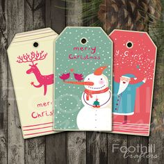 INSTANT DOWNLOAD -  12 Fun Christmas Day Gift Tags - 1.5 x 2 7/8 - Printable Digital Collage Sheet -  DIY Xmas Hang Tags - Santa - Reindeer #foothillcrafters #etsy #christmas_gift_tags #santa #reindeer #snowman #diyhangtags # gift_tags #holidaytags #christmascharacters #printabletags