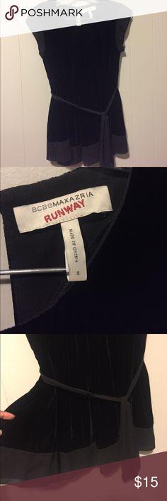 BCBG Runway Black Velvet Blouse Classy BCBG Runway Blouse. Velvet and Sheer. Has a cute dash tie and cap Sheer sleeves. BCBGMaxAzria Tops Blouses