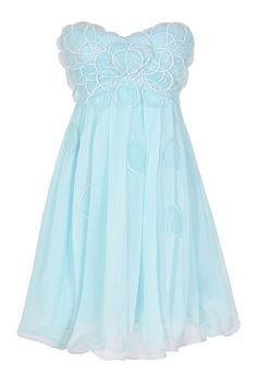 Raindrops on Roses Chiffon Designer Dress in Pale Blue by Minuet