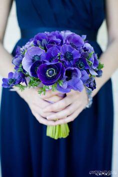 blue anemone wedding flower bouquet,