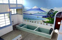 The interior of a bath house built in the Many of the bath houses in operation today have the original preserved wall paintings, and 90 percent of those are of Mount Fuji.
