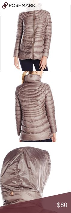 🆕 Taupe Packable down jacket Mid length packable topper with primaloft/down fill. Fill is water repellant. Style has beautiful copper trim and zip out hood with drawcords. The style is finished with interesting seam lines for a modern shape. New without tags (ordered online and only came with the clear plastic packaging) Bernardo Jackets & Coats