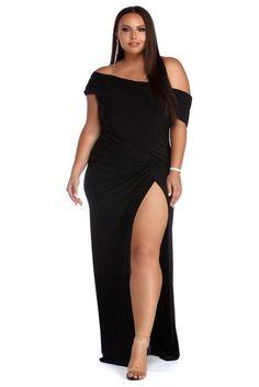 Plus Kaleigh Black Off Shoulder Dress Plus Size Party Dresses, Plus Size Gowns, Plus Size Outfits, Black Women Fashion, Curvy Fashion, Plus Size Fashion, Belted Dress, Striped Dress, Black Off Shoulder Dress
