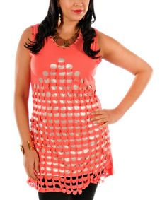 Look what I found on #zulily! Coral Metallic Cutout Tunic - Plus by Lily #zulilyfinds