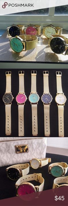 5 GENEVA WATCHES FOR $35!!! SHIPS IN 1 DAY! 5 GENEVA PLATINUM WATCHES FOR ONLY $35 !!!  LUXURY SHINY GOLD STAINLESS STEEL BANDS!!! STEAL THE SHOW WITH THESE FASHION WATCHES.  COLORS INCLUDED:  PINK  BLACK WHITE AQUA BLUE NAVY BLUE  FAST SHIPPING  SHIPS IN 1 DAY!! Geneva Platinum Accessories Watches