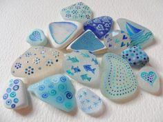 Blue doodles Hand painted miniature art on by Alienstoatdesigns, $35.00