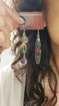 Asymmetric Amethyst Verdigris cloisonne earrings – TOODLEBUNNY