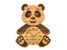 Panda Bear Clock, Baby Nursery Wooden Clock, Gift for Children, Wood Animal Clock, Modern Decor, Gift for Boy or Girl, KeepsakeToys