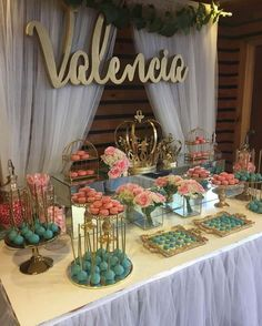 Take a look at this gorgeous Princess theme in pink, gold & teal Birthday Party. The dessert table is fabulous!! See more party ideas and share yours at CatchMyParty.com