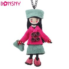 Bonsny Handmade Doll French Girls Statement Necklaces Cloth Long Chain Pendants 2016 News Cute Choker Girls Women Accessories-in Pendant Necklaces from Jewelry & Accessories on Aliexpress.com   Alibaba Group