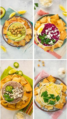 Four new easy ways to enjoy hummus. carbonara recipe easy Hummus 4 Ways: Black Bean, Roasted Garlic, Beet, Avocado Healthy Appetizers, Appetizer Recipes, Healthy Snacks, Healthy Eating, Dinner Recipes, Clean Eating, Tasty Videos, Food Videos, Aperitivos Finger Food