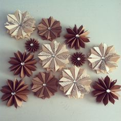 Christmas Decor 12 Paper Star Ornaments Assortment Vintage Book Pages-Brown…