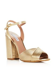 68b5670d4ef3e Tabitha Simmons - Women s Kali Pleated Leather Block Heel Sandals Gold  Sandals