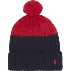 POLO RALPH LAUREN Colour block knitted bobble hat ($90) ❤ liked on Polyvore featuring men's fashion, men's accessories, men's hats and polo ralph lauren mens hats