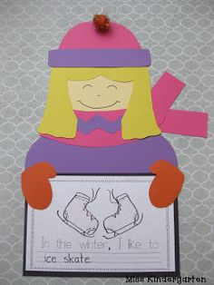 "Miss Kindergarten: winter craft...even though ""going to the pool"" would look wired to write under a girl wearing a scarf!"