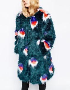 Image 3 ofStory Of Lola Midi Length Faux Fur Coat In Boho Peacock Print