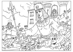 Coloring page plague of frogs