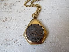 Your place to buy and sell all things handmade Zodiac Horoscope, Horoscopes, Scorpio Images, Horoscope Signs, Scorpion, Vintage 70s, Pocket Watch, 1970s, Chain