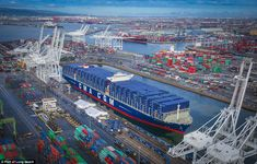 CMA CGM to Deploy Six Megaships to U. CMA CGM Benjamin Franklin at the port of Long Beach for its inauguration in February. Photo credit: Port of Long Beach Tahiti, Cma Cgm, Long Beach California, Northern California, Merchant Navy, Panama Canal, Benjamin Franklin, Aircraft Carrier, Rpg