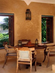 First Floor Dining Area Lamu Kenya, Dining Area, Dining Table, Plaster Walls, Beautiful Space, Home Living Room, Renting A House, Beach House, Home Improvement