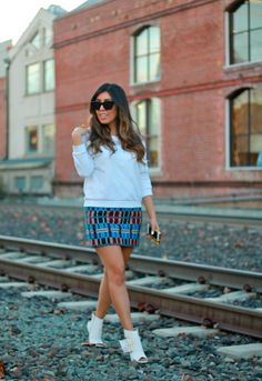 Tweed skirt and white booties #fashion #streetstyle #fashion #style