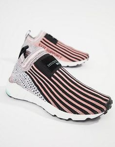 huge selection of 636f1 76e66 adidas Originals Eqt Support Sock 1 3 Trainers In Black And Pink Sock Shoes,